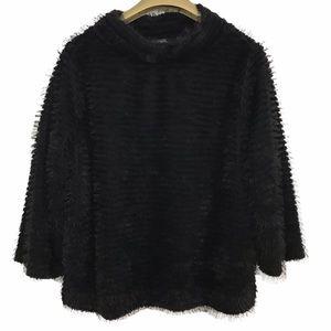Vince Camuto Eyelash Fringe Stripe Fuzzy Sweater